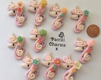 handmade clay charm pink and lilac flower unicorns unicorn clay charm