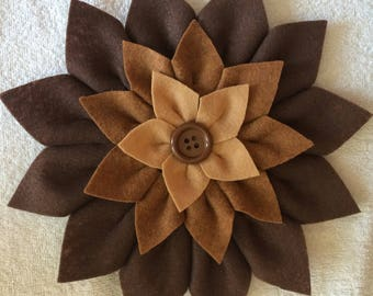 Handmade Felt Brown Multi Flowers