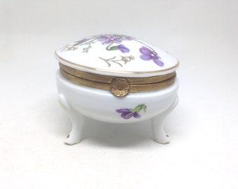 Vintage Estate Footed Porcelain Floral Trinket Purple Flowers Box