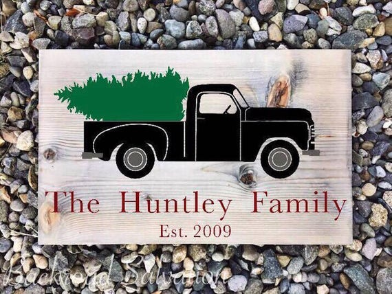 Custom Vintage Truck Sign Merry Christmas
