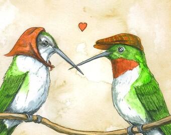 Hummingbird Lovers   print 5x7