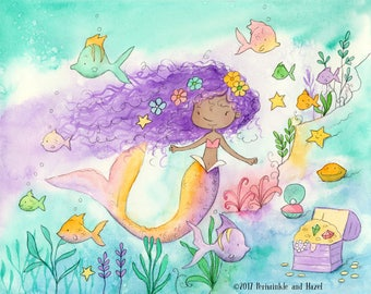 Mermaid with Purple Hair - African American Girl -  Art Print
