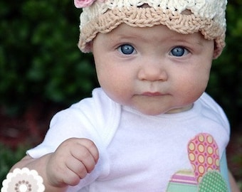 READY TO SHIP 6-12 Month Crochet Beanie With Flower - eggshell, beige, pastel pink, rose pink