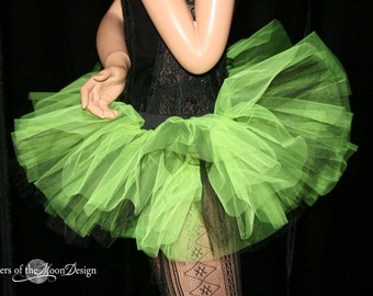 Adult tutu skirt Mini micro Peek a boo style dance roller derby costume Neon yellow black runner - You Choose Size - Sisters of the Moon