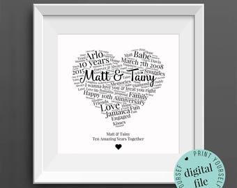 Personalised 10th ANNIVERSARY GIFT - Word Art - Printable - 10 Year Anniversary - 10th Wedding Anniversary - Tin Anniversary - Husband
