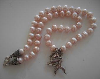 Sterling Mermaid Pendant on Necklace of Hand Knotted Pearls