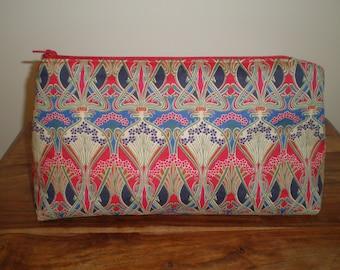 Liberty Fabric Make Up Bag 'Ianthe Red