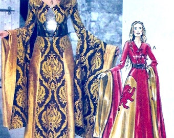 Dramatic evening dress Medieval style costume sewing pattern McCalls 6940 Briides dress Sz 14 to 22 UNCUT