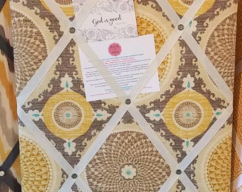 Memory / Prayer / Inspiration Board  Yellow Taupe Ivory
