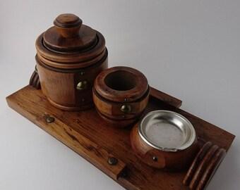 Vintage Wooden Pipe Smoker Set