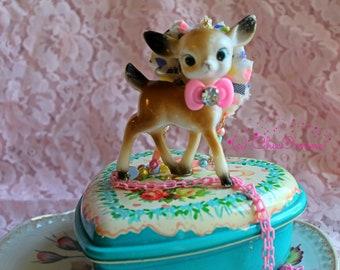 Pastel Fawn Deer Figure Necklace: Mori Kei, Hime Gyaru, Sweet Lolita, Kitsch, Vintage, Shabby Chic, Fariy Kei