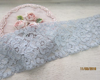 1 Yard-Grey ice Blue Elastic Lace/NT87-Delicate Elastic Lace/