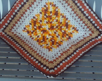 Lapghan,crocheted,gift,seniors,adults,crocheted,orange,brown,yellow,cream