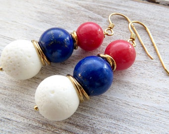 White coral earrings, red jade and blue lapis lazuli earrings, 925 gold plated sterling silver earrings, gemstone jewelry, french jewelry
