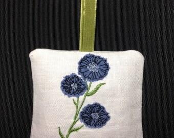 Raw Edge Applique Design 'Cornflower Lavender Bag'
