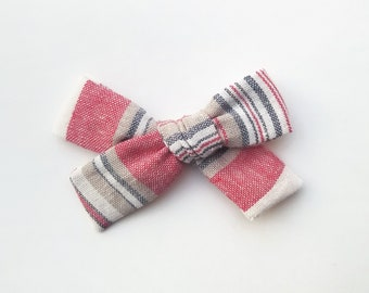 RTS •  red, white & blue • 4th of July • fabric bow • linen • schoolgirl bow • headband or clip