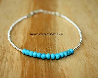 Turquoise Bracelet - Sterling Silver Bracelet - Gemstone Bracelet - Turquoise And Silver - Minimalist Jewelry - December Birthstone Bracelet