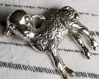 Vintage Sterling Silver Lamb Pin or Brooch (st - 2298)
