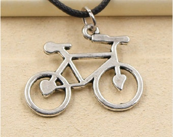 Bicycle Necklace Choker Pendant Cycling Charm With Leather Lace Handmade Jewelry