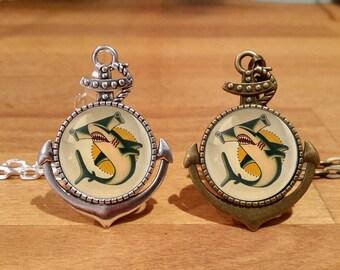 Sailor Jerry Shark Necklace, Sailor Jerry necklace, Shark necklace, tattoo necklace, Silver Plated, Antique Bronze, Anchor setting (9A)