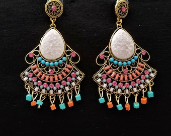 Rainbow color chandelier earrings, Bollywood earrings, summer earrings, statement earrings,  gifts for her, teachers gifts