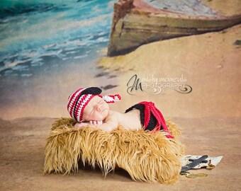 Baby Pirate Photo Prop/ Crochet Newborn Pirate/ Summer Newborn Prop/ Nautical Newborn Prop/ Nautical Baby