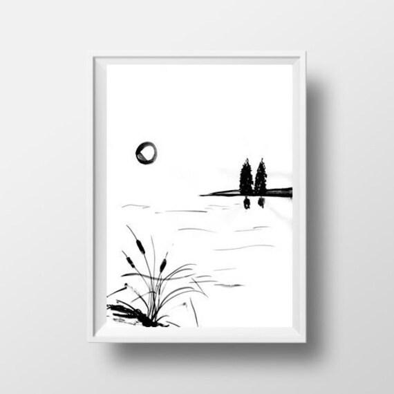 Lake Simple Painting Black White Sumi E Minimalist Zen Ink Drawing Print Nature Wall Art Abstract Plain Morning Sunrise Landscape Home Deco