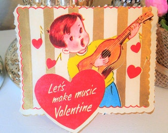 Valentine's Day Vintage Card Boy Playing Music 1950's