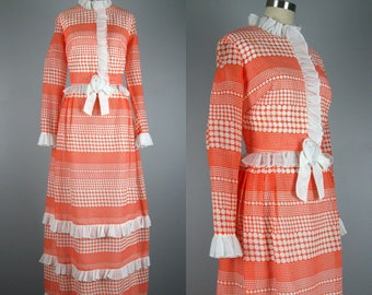 Vintage 1970s Dress 70s Orange and White Polka Dot Maxi Dress by Miss Elliette Size M
