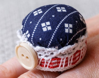 Upcycled Pincushion Ring in Gift Box