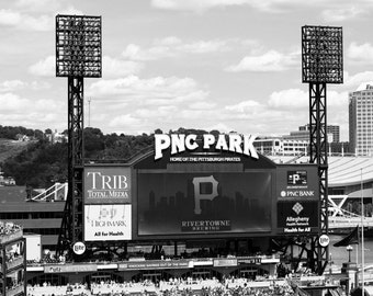 Pittsburgh Pirates Lights and Marque, 5x7 black and white, fine art print