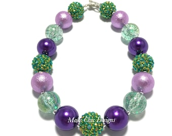 Toddler or Girls Mermaid Chunky Necklace - Purple and Green Chunky Necklace - Purple Mermaid Bubblegum Necklace - Dinosaur Chunky Necklace