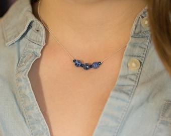 Minimalist Necklace Elegant Necklace Sodalite Necklace Bright Necklace Blue Necklace Casual Necklace Gemstone Necklace Dainty Necklace