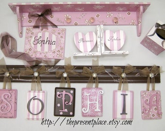 complete room makeover set,nursery gift set,girls gift set,bookends,letters,hair bow holder,tissue box,pink and brown,girls room decor