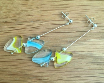 Hand Crafted Blue and Yellow Beaded Earrings.
