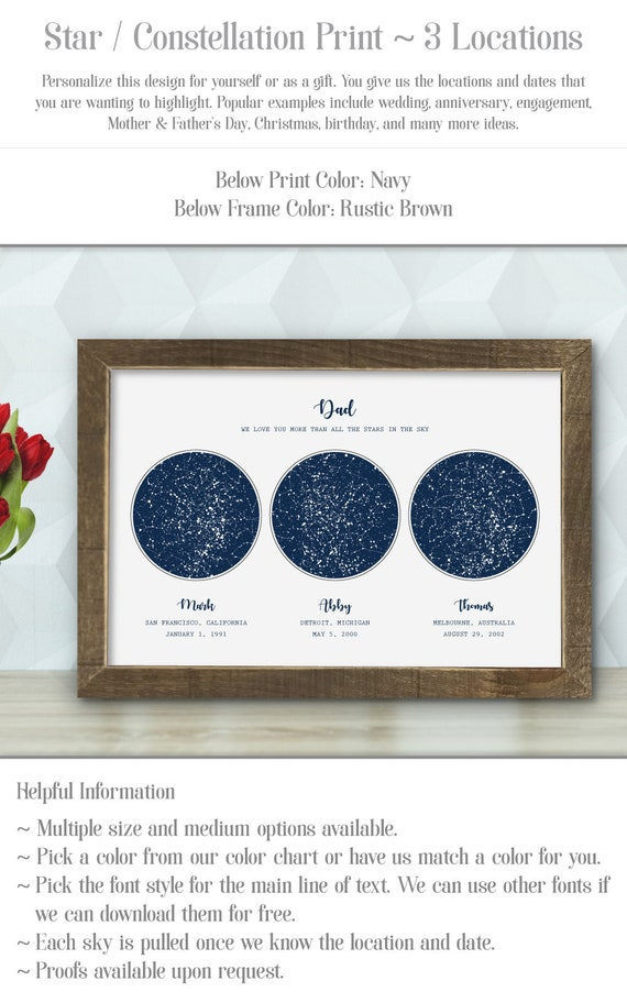 Personalized Star / Constellation Print for Dad