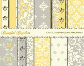 Scrapbook Paper Pack Digital Scrapbooking Background Papers DAMASK 10 8.5 x 11 Yellow Gray White FRENCH Fleur 1214gg