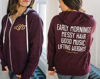 Early Mornings Lifting Weights Zip Hoodie with Thumbholes // Women Who Lift // Crossfit Gift