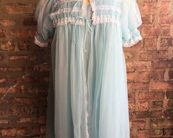 1960s Blue Chiffon Peignoir Miss Elaine Medium