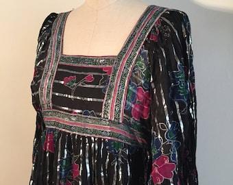 Vintage 70s Indian Gauze Black Silver Dress