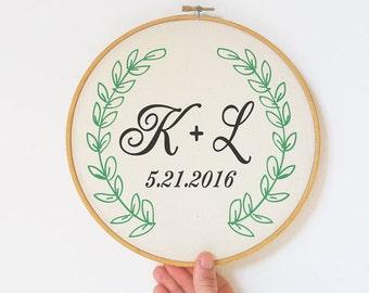 Personalized Wedding Embroidery Hoop Art-hand printed hoop art-wedding gift-anniversary gift-couple gift-wedding sign-custom gift-EHOO1