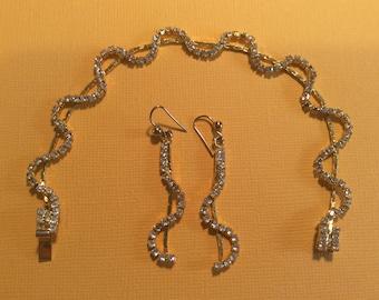 Diamanté bracelet and earring set