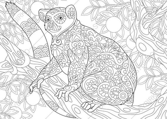 Madagascar Lemur 3 Coloring Pages Animal Coloring Book Pages