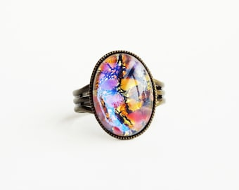 Opal Ring Vintage Iridescent Glass Harlequin Fire Opal Pink Gold Jewelry Statement Ring Women Gifts Opal Jewelry