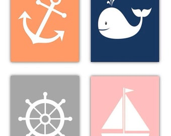 Nautical Nursery Art for Girls // Girls Nautical Decor // Navy and Pink Decor // Pink Wall Art // 4- 8x10 PRINTS ONLY