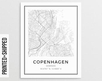 Copenhagen Print, Copenhagen Map Poster, Copenhagen City Map, Map of Copenhagen, Copenhagen Wall Art, Scandinavian Print, Denmark Print