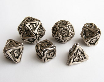 Stainless Steel Balanced Gaming Dice Set - 'Twined Dice' Metal
