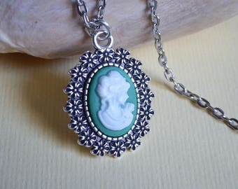 young woman portrait cameo Medallion chain
