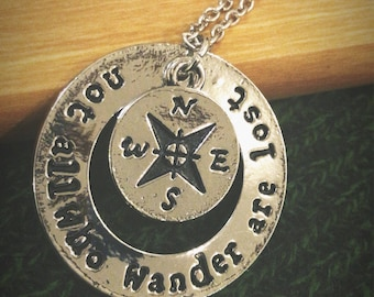 "18"" Silver Plated ""not all who wander are lost"" Inspirational Pendant and Compass Necklace"