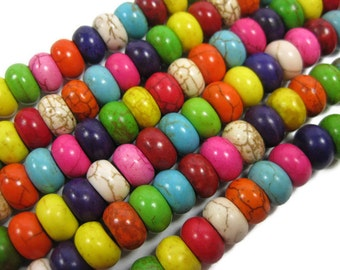 Multi Colored Howlite 10 mm Rondelle Beads , Abacus Beads